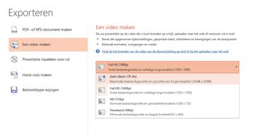 Schermafbeelding van het dialoogvenster Exporteren met beschikbare opties voor het maken van een video op basis van een presentatie