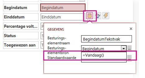 De standaardwaarde van een datumveld instellen in een Access-app.