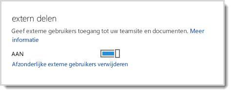 Afbeelding met het aan/uit-besturingselement waarmee externe gebruikers toegang kan worden verleend tot uw teamsite en documenten.