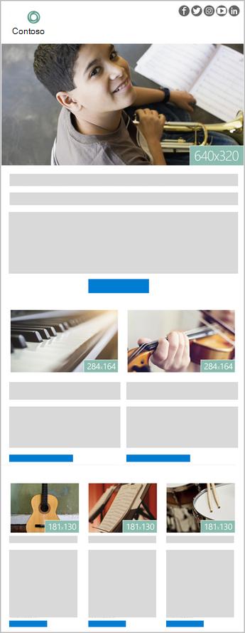 Afbeelding van een Outlook-nieuwsbriefsjabloon met zes afbeeldingen