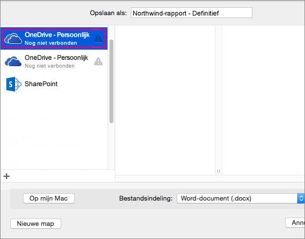 Als u uw document wilt opslaan op OneDrive of een andere onlinelocatie, klikt u op Onlinelocaties.