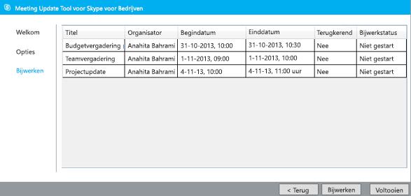 Schermafbeelding van bijwerken van migratiehulpmiddel voor vergaderingen