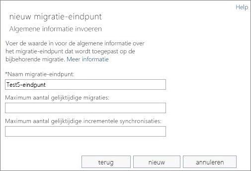 Naam van migratie-eindpunt.