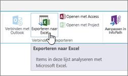 Knop SharePoint exporteren naar Excel op het lint gemarkeerd