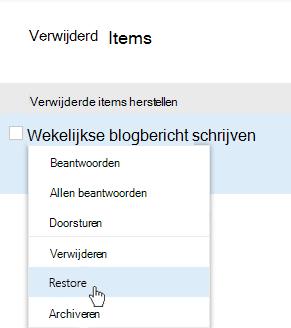 Schermafbeelding van het menu van de items herstellen die zijn verwijderd