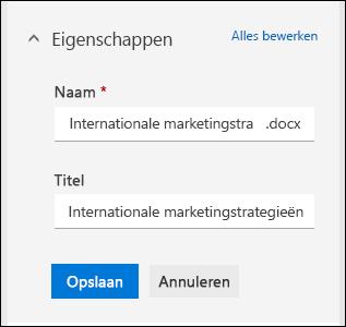 Alle eigenschappen voor een bestand in een documentbibliotheek bewerken