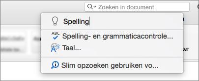 Het zoekvak uitleg in Word voor Mac 2016