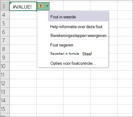 Vervolg keuzelijst die wordt weer gegeven naast het pictogram voor de traceer waarde