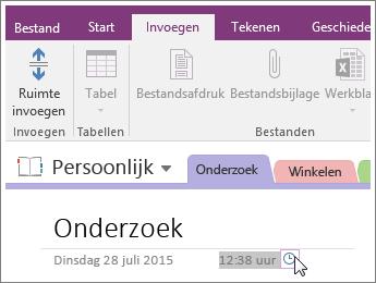 Schermafbeelding van het wijzigen van de tijdstempel op een pagina in OneNote 2016.