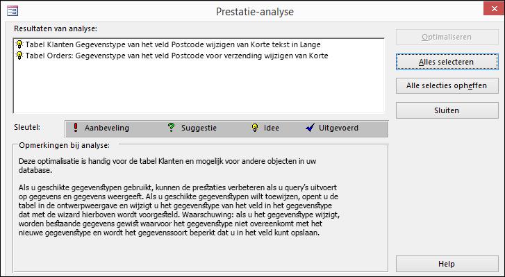 Dialoogvenster met resultaten van Prestatie-analyse na uitvoering op een Access-database.