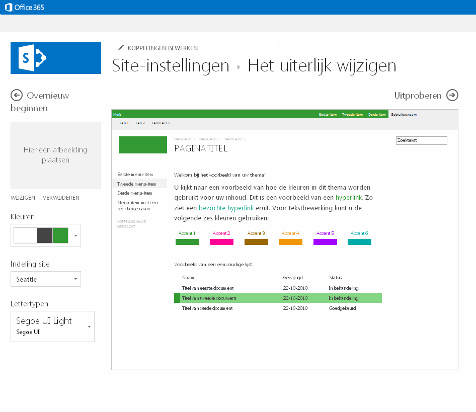 De kleur, de indeling en het thema wijzigen van een publicerende site in SharePoint