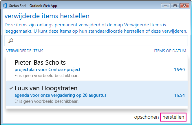 Dialoogvenster Verwijderde items herstellen in Outlook Web App