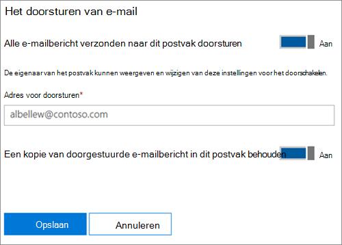 Schermafbeelding: E-mailadres voor doorsturen invoeren