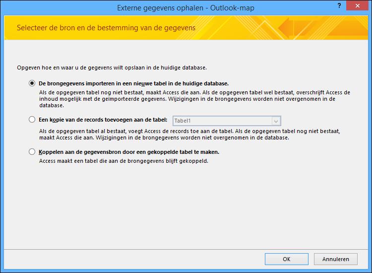 Selecteer deze optie om een Outlook-map te importeren, toe te voegen of er een koppeling naar te maken.