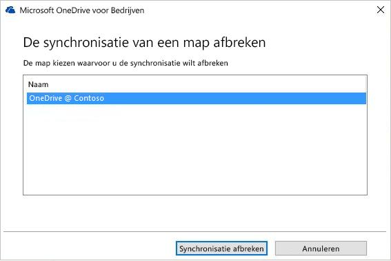 Schermafbeelding van het dialoogvenster De synchronisatie van een map afbreken