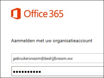 Aanmeldscherm van de Office 365-portal