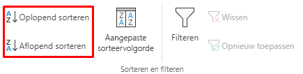 Knoppen Oplopend/aflopend sorteren geselecteerd