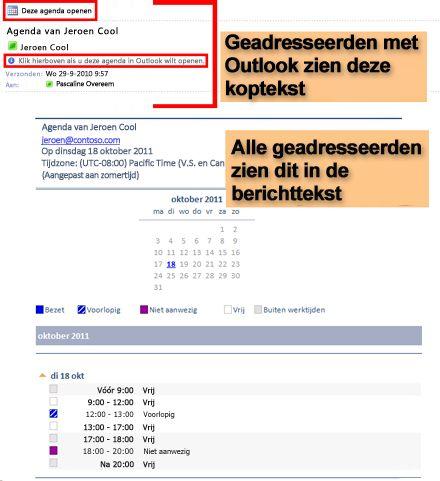 Voorbeeld van een agenda ontvangen met behulp van de functie Agenda e-mailen