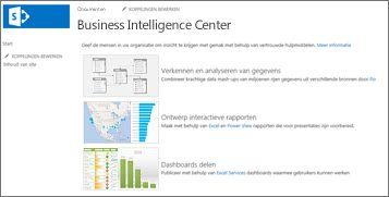 De startpagina van een Business Intelligence Center-site in SharePoint Online