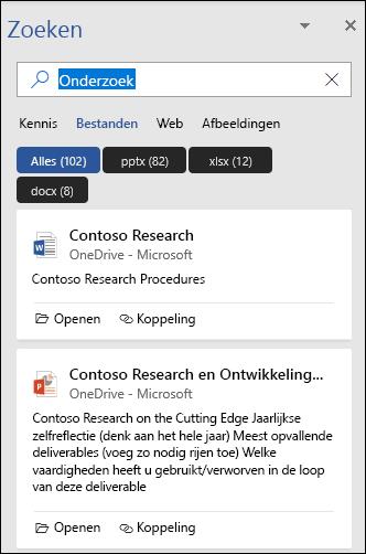 Het deelvenster Zoeken met de bestanden die zijn gevonden met een zoekopdracht