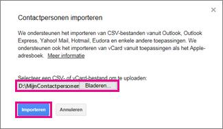 Google Gmail - dialoogvenster voor het importeren van contactpersonen