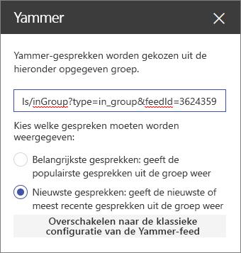 Eigenschappenvenster van Yammer