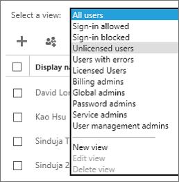 De weergave met gebruikers zonder licentie selecteren in de lijst Een weergave selecteren.