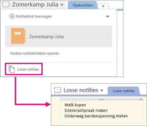 De locatie van het notitieblok met losse notities