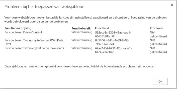 Schermafbeelding van een foutbericht dat wordt weergegeven als een site niet in SharePoint Online kan worden gemaakt als gevolg van niet-beschikbare functies.