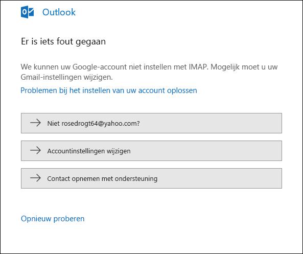 Er is iets fout gegaan tijdens het toevoegen van een e-mailaccount aan Outlook.