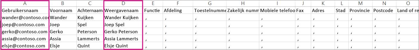 Een voorbeeld van een CSV-bestand waarin lege rijen zijn gespecificeerd