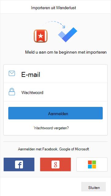 Prompt om u aan te melden bij het importeren met de optie om u aan te melden met een e-mailadres en wachtwoord of met Facebook, Google of Microsoft