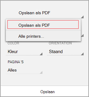 Opslaan als PDF selecteren