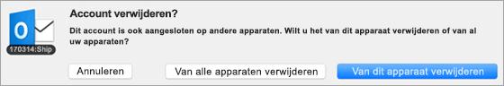 Schermafbeelding van het dialoogvenster Account verwijderen.