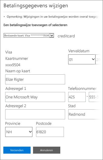 Pagina Betalingsgegevens voor bijwerken van creditcardgegevens.
