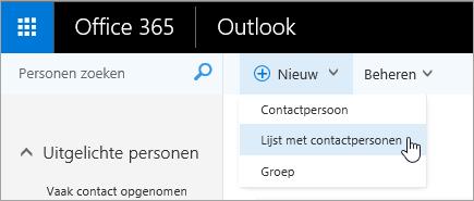 Schermopname van het snelmenu voor de knop Nieuw met Lijst met contactpersonen geselecteerd.