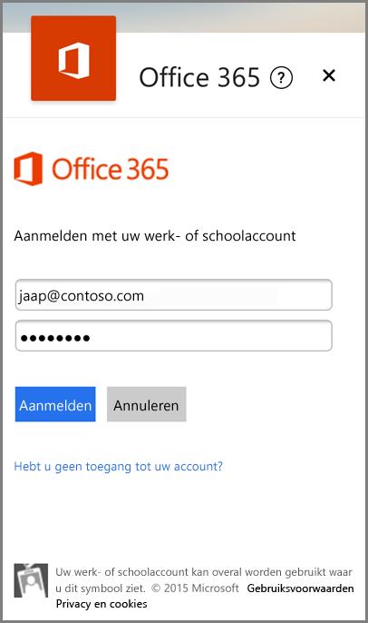 Aanmelden met uw werk- of school-e-mail en ‑wachtwoord