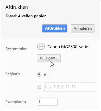 Klik op Wijzigen om een printer kiezen
