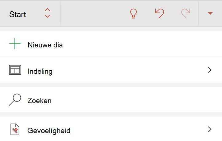 Gevoeligheids menu op het tabblad Start van het lint in Android