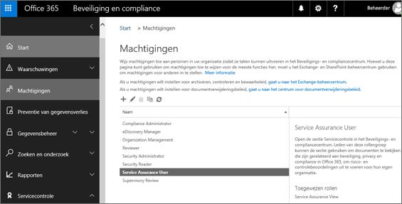 Schermafbeelding van de pagina Machtigingen van het beveiligings- en compliancecentrum met Gebruiker servicecontrole geselecteerd.