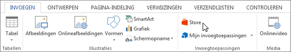 Schermafbeelding van een gedeelte van het tabblad invoegen op het lint van Word met een cursor die wijst naar de Store. Selecteer opslaan om te gaan naar de Office Store en zoek invoegtoepassingen voor Word.