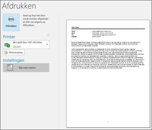 Afdrukvoorbeeld van e-mailbericht in Outlook