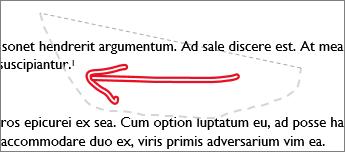 Getekende item dat wordt geselecteerd met de functie Lasso