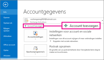 Add Account button in the Backstage view