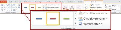 Het tabblad Opmaak onder Hulpmiddelen voor tekenen in PowerPoint 2010.