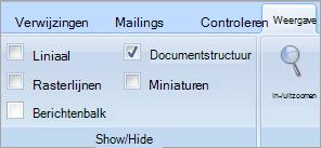 Selectievakje Documentstructuur