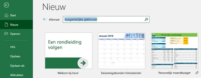 Nieuw tabblad van het menu bestand, klikt u met het zoeken naar onlinesjablonen zoekveld in gebruik