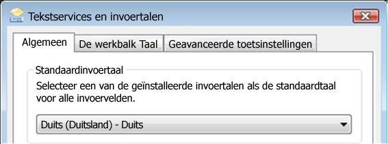 Het dialoogvenster Tekstservices en invoertalen