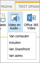 Knop video of audio invoegen op het lint bewerken