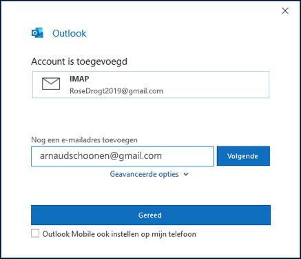Selecteer gereed om het instellen van uw Gmail-account te voltooien.